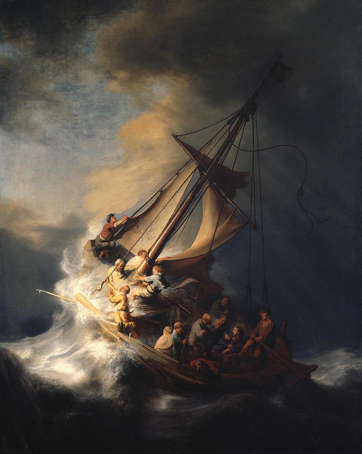 Rembrandt Van Rijn Painting - Christ In The Storm On The Sea Of Galilee by Rembrandt Van Rijn
