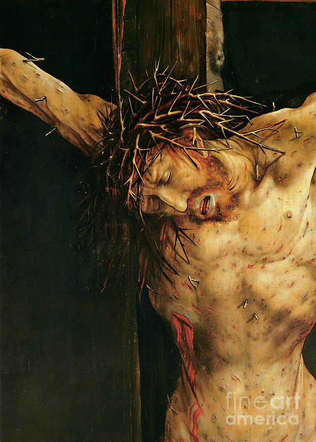 Crown Painting - Christ On The Cross by Matthias Grunewald