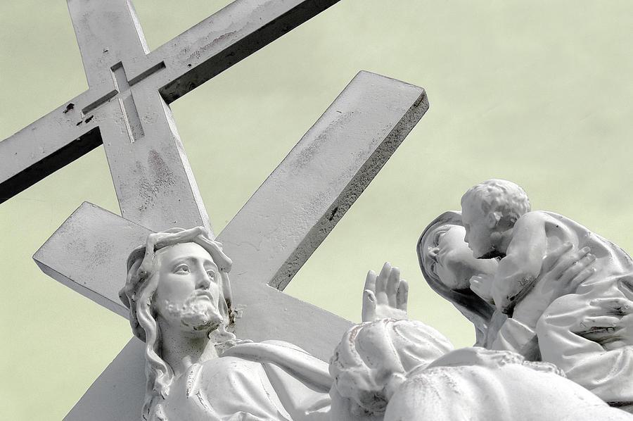 Saint Joseph Cemetery Photograph - Christ On The Cross With Mourners Saint Joseph Cemetery Evansville Indiana 2006 by John Hanou