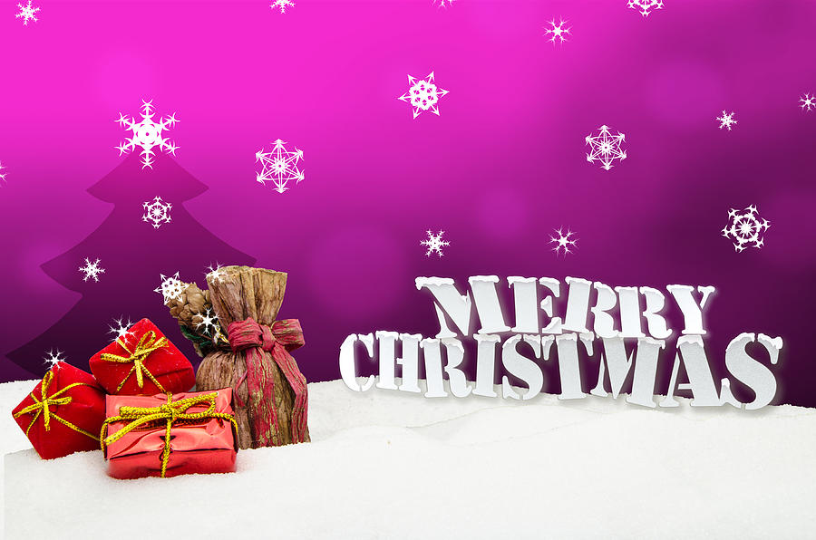Christmas Background - Christmas Tree - Gifts - Pink - Snow Photograph