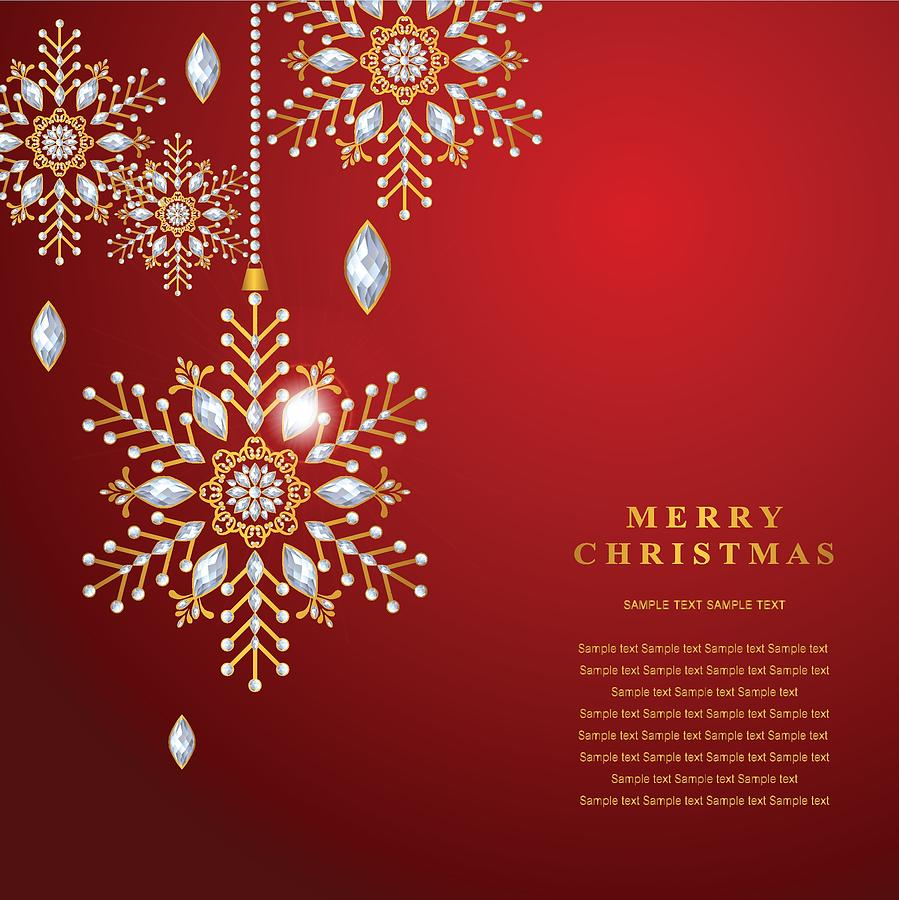 Christmas Card Templates.Christmas Greeting And New Years Card Templates With Gold Patterned And Crystals On Background Color