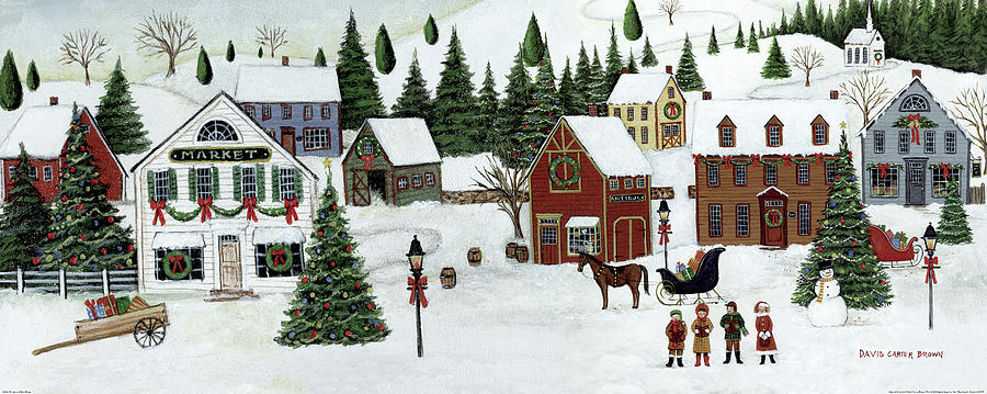 Animal Painting - Christmas Valley Village by David Carter Brown