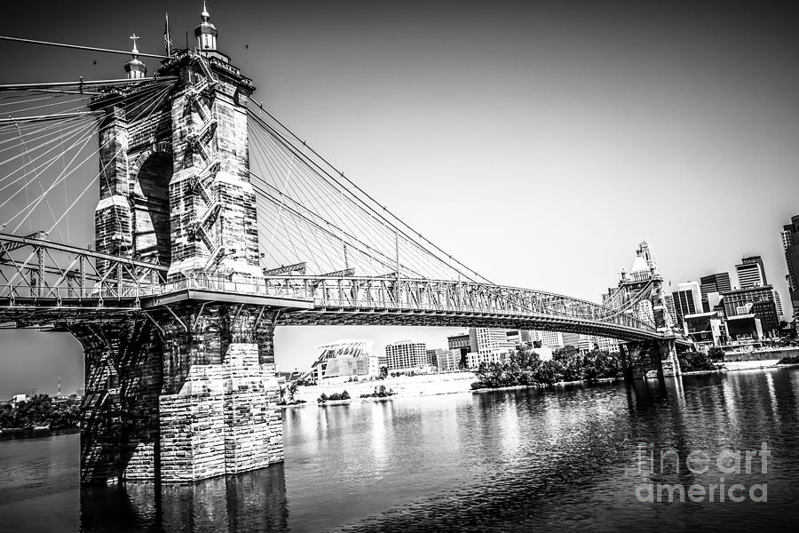 2012 Photograph - Cincinnati Roebling Bridge Black And White Picture by Paul Velgos