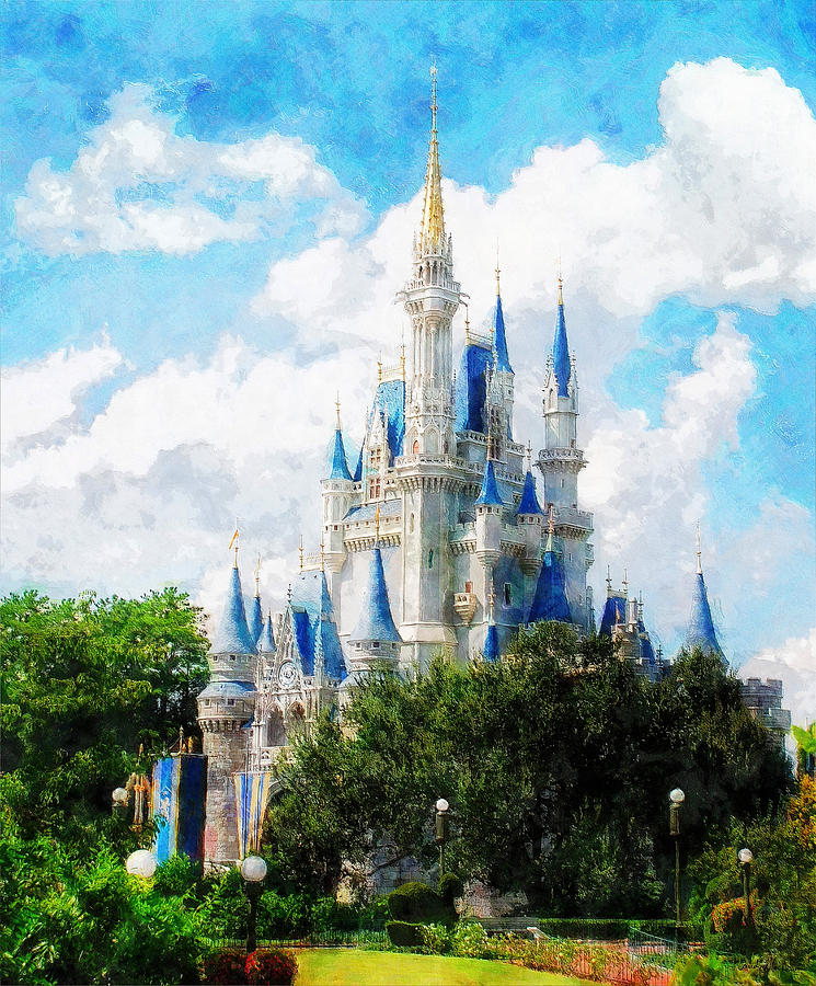 Castle Painting - Cinderella Castle by Sandy MacGowan