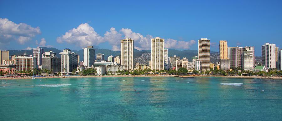 Horizontal Photograph - City At The Waterfront, Waikiki by Panoramic Images