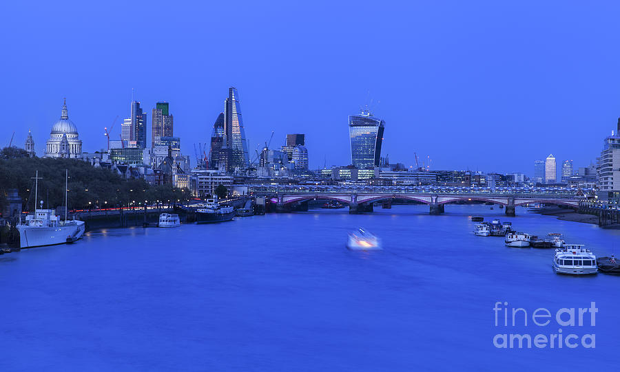 Waterloo Bridge Night View Of The City Of London By Philip Pound
