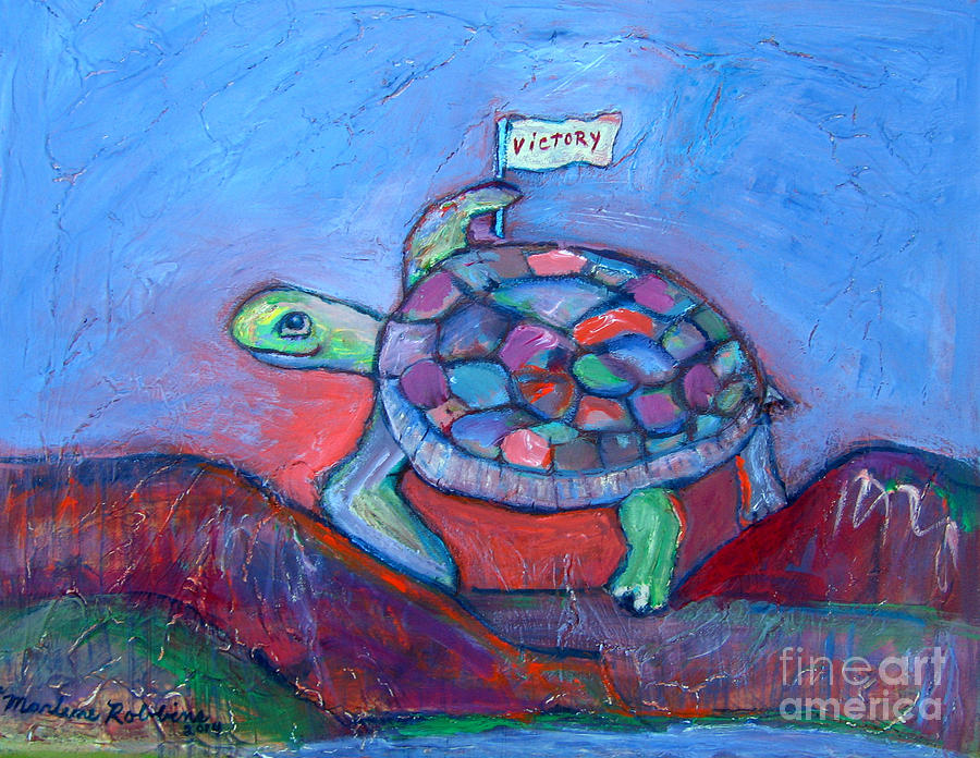 Turtle Painting - Climb Every Mountain by Marlene Robbins