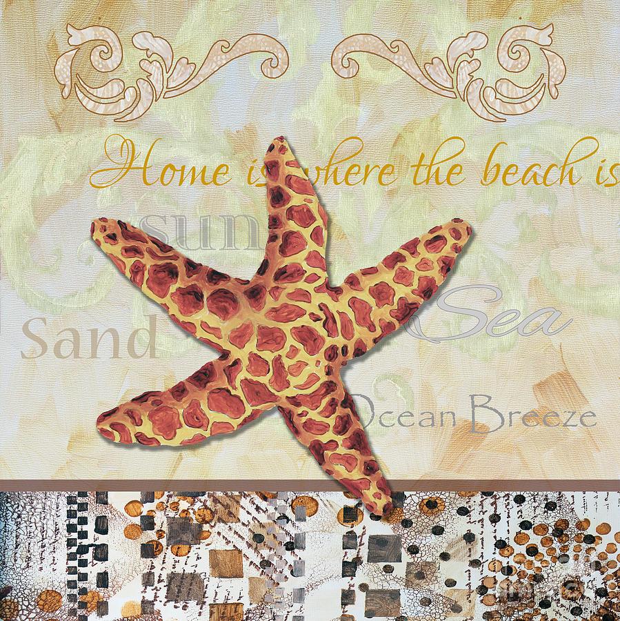 Coastal Painting - Coastal Decorative Starfish Painting Decorative Art By Megan Duncanson by Megan Duncanson