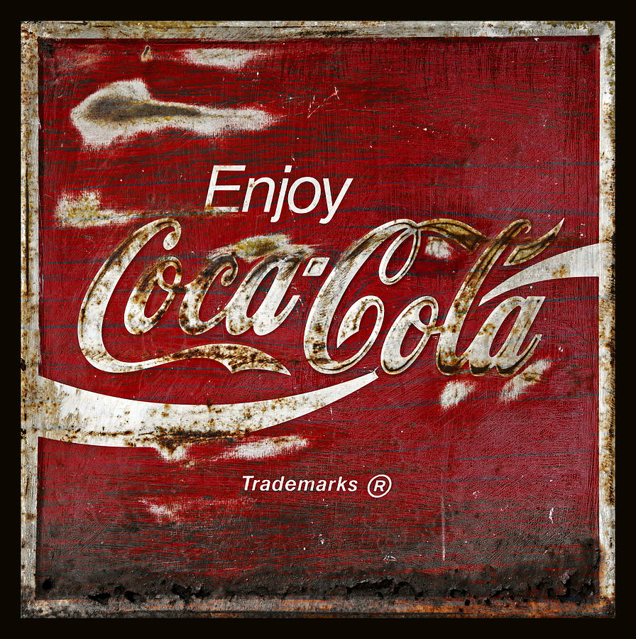 Coca Cola Photograph - Coca Cola Grunge Sign by John Stephens
