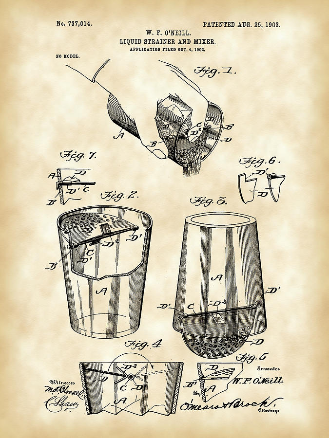 Cocktail Digital Art - Cocktail Mixer And Strainer Patent 1902 - Vintage by Stephen Younts