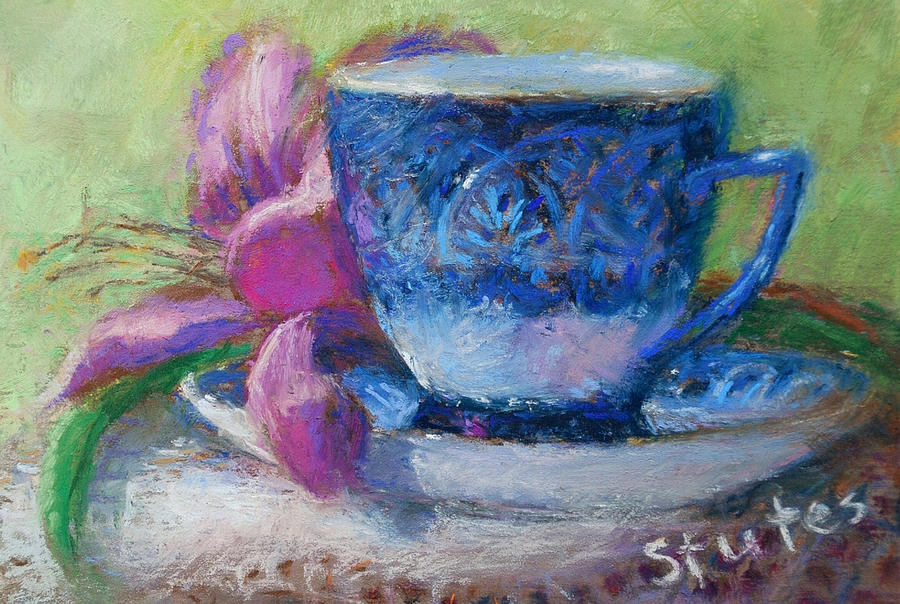 Still Life Drawing - Coffee And Flowers by Nancy Stutes