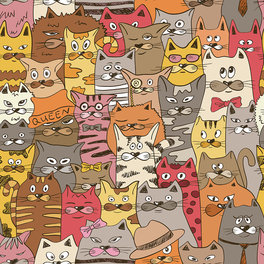 Colorful Seamless Pattern With Funny Digital Art by Annykos