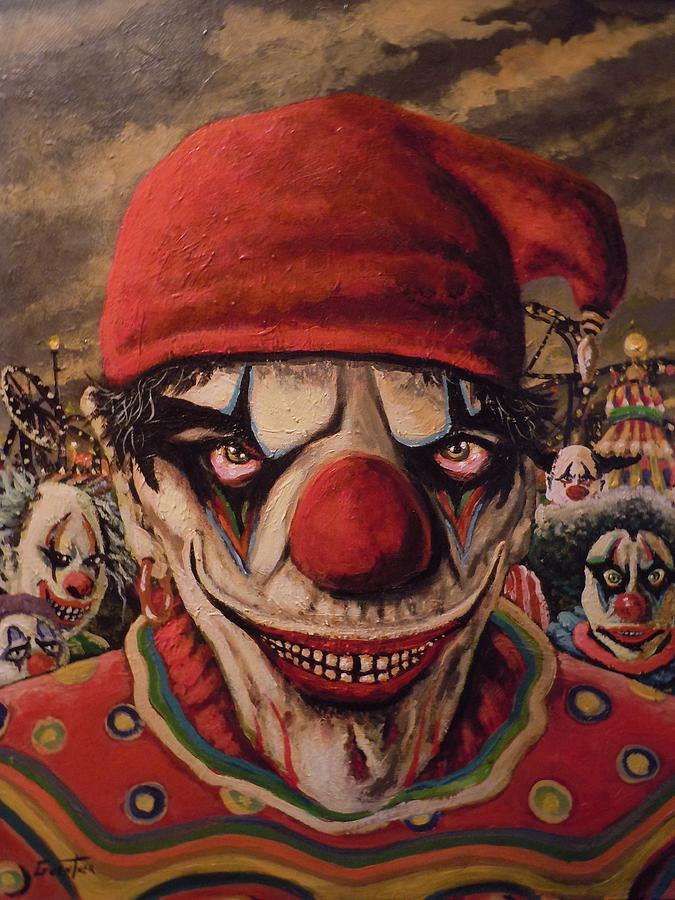 Horror Art / Evil Clowns Painting - Come With Me by James Guentner