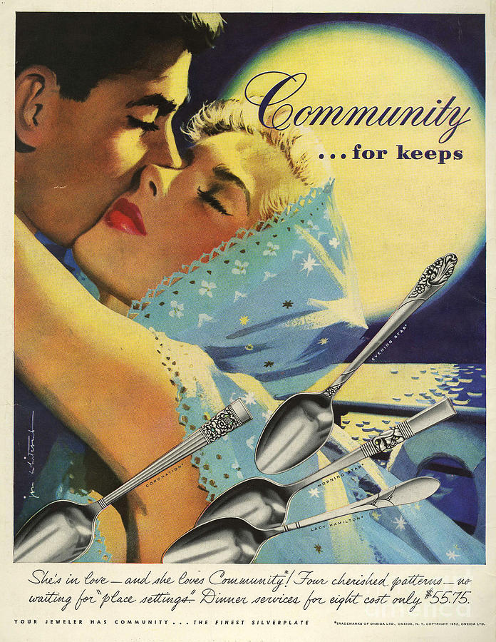 1950�s Drawing - Community Cutlery  1952  1950s Usa by The Advertising Archives
