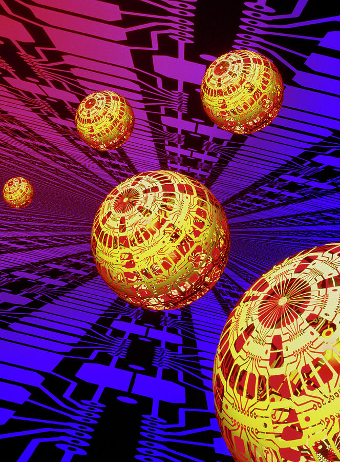 Electronic Circuit Photograph - Computer Artwork Of Spheres Covered In Circuits by Mehau Kulyk/science Photo Library