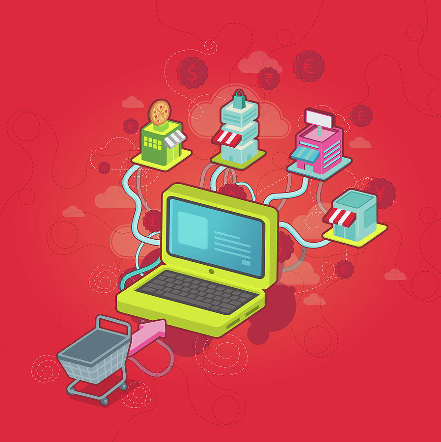 Accessibility Photograph - Conceptual Illustration Of Online Shopping by Fanatic Studio / Science Photo Library