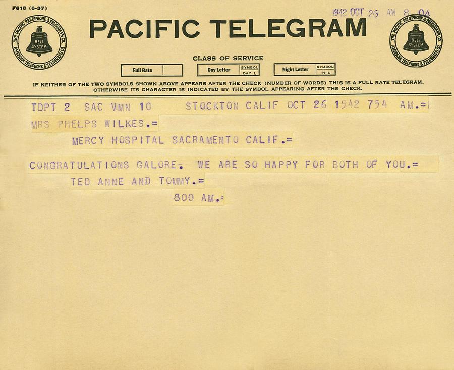 1942 Photograph - Congratulatory Telegram by Underwood Archives