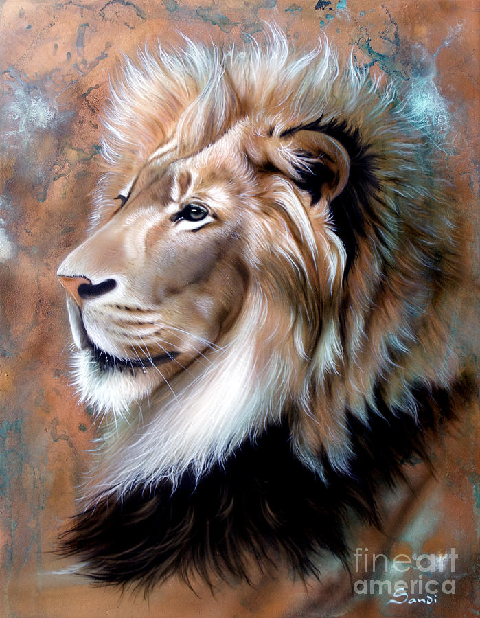 Copper Painting - Copper King - Lion by Sandi Baker