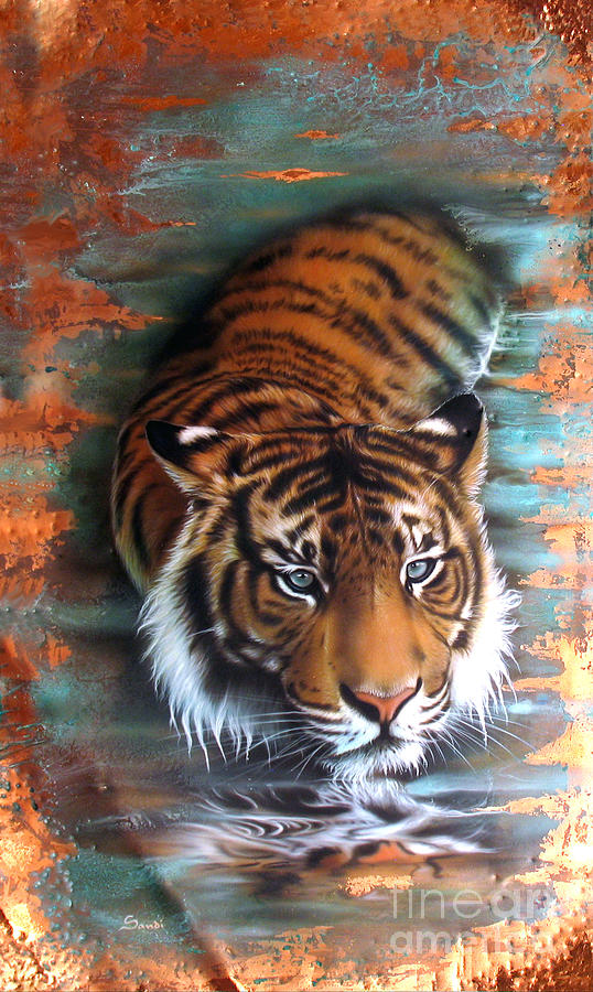 Copper Painting - Copper Tiger II by Sandi Baker