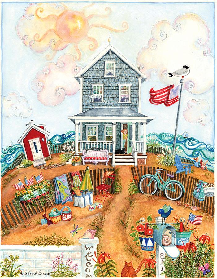 Whimsical Painting - Corgie Street Cottage by Deborah Burow