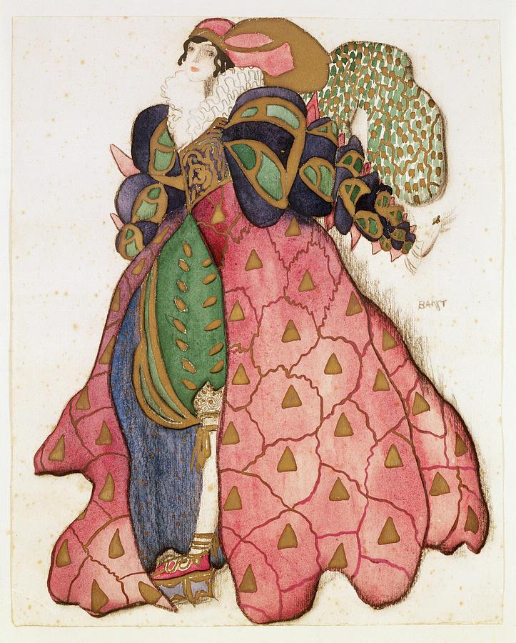 Serge Diaghilev Drawing - Costume Design For The Ballet La by Leon Bakst