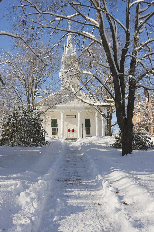 Country Church In Winter Wiscasset Maine Photograph by ...