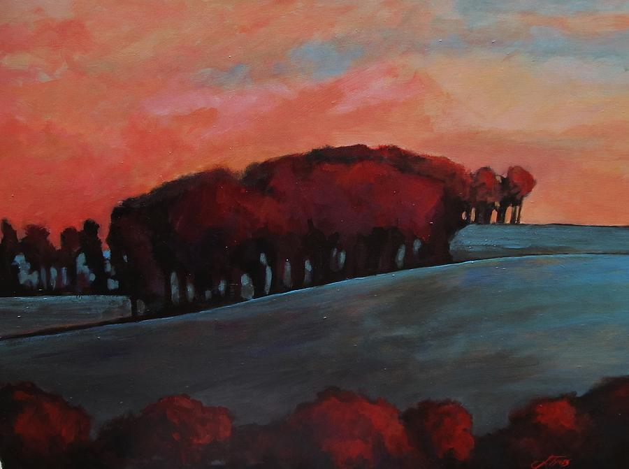 Landscape Modern Trees Nature Painting - Countryside by Suzanne Tynes