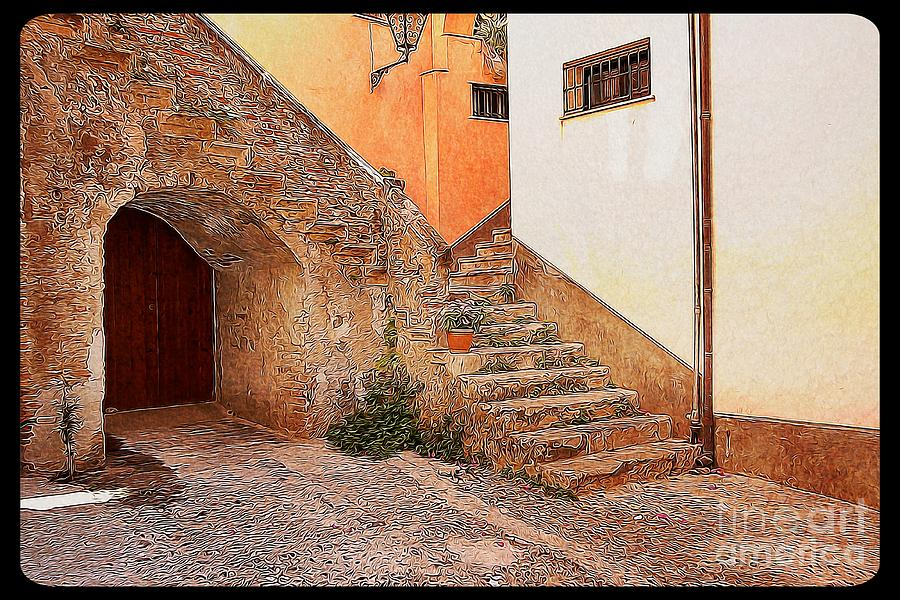 Sicily Digital Art - Courtyard Of Old House In The Ancient Village Of Cefalu by Stefano Senise