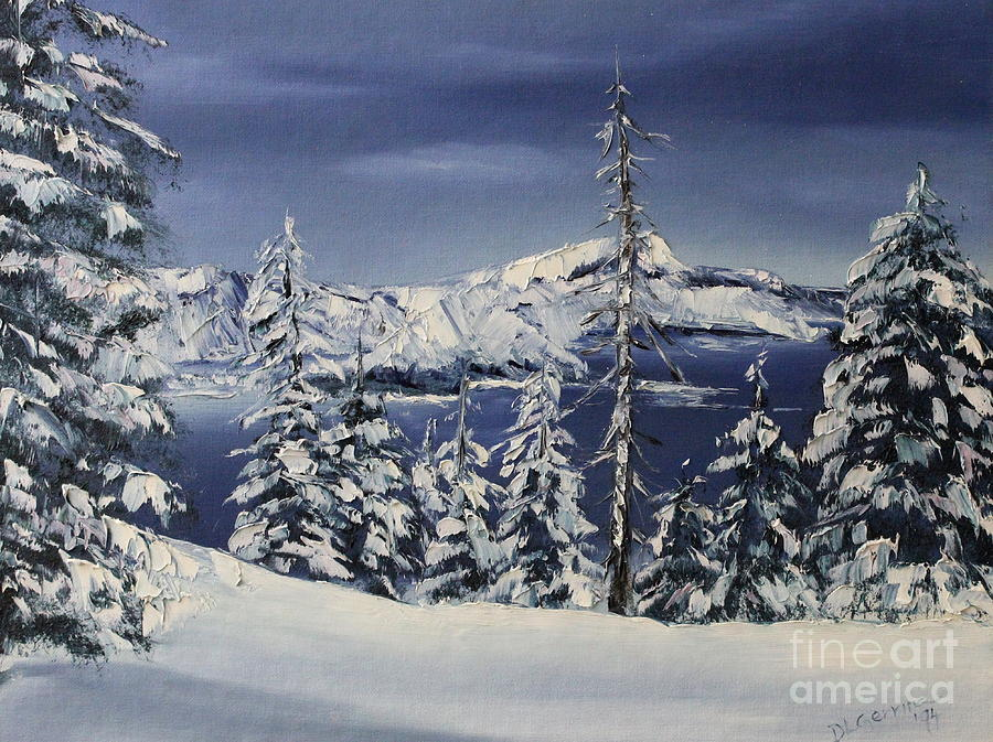 Crater Lake Painting - Crater Lake by D L Gerring