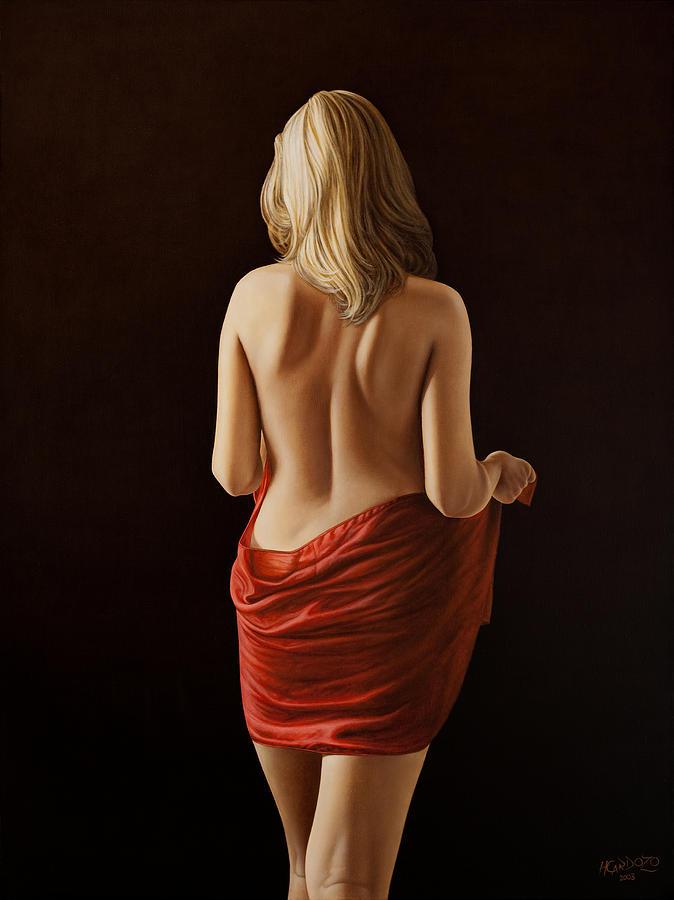 Woman Painting - Crimson by Horacio Cardozo