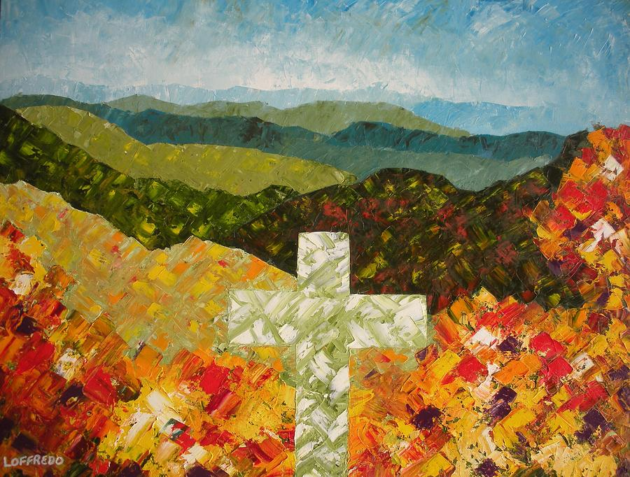 Christian Art Paintings Painting - Cross Of The Colorful Ridges by Ralph Loffredo