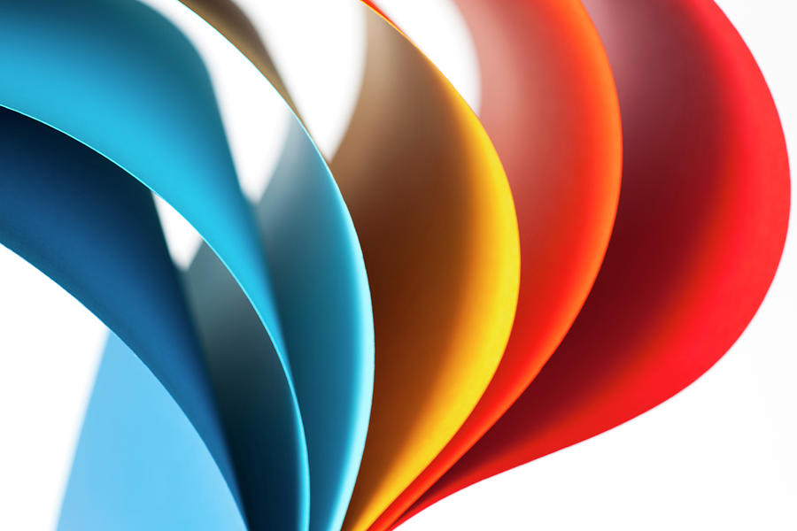 Curves Of Colored Papers On White Photograph by Colormos