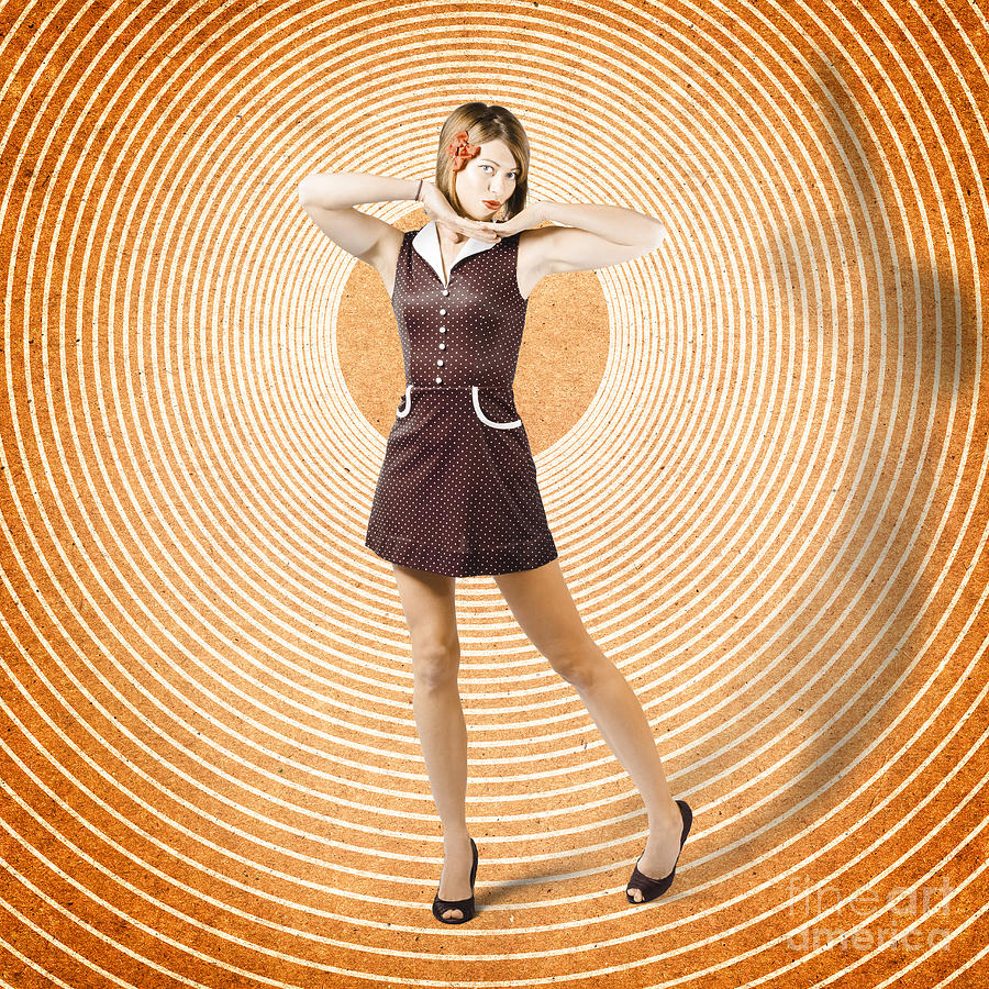 Cute Retro Pinup Girl In Time Warp. Tattoo Design Photograph by ...