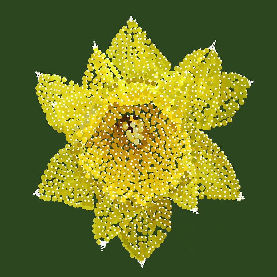 Yellow Daffodil Digital Art - Daffodil Bedazzled by R  Allen Swezey