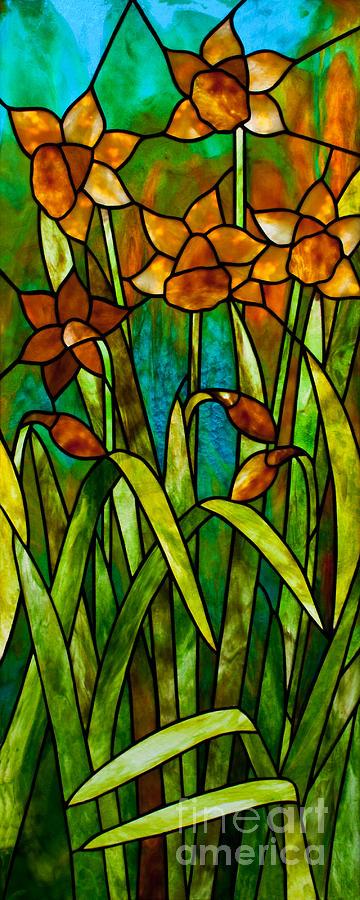 Daffodils Glass Art - Daffodil Day by David Kennedy