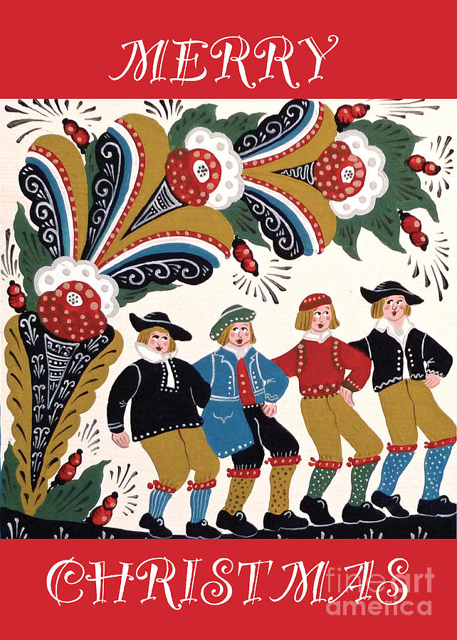 Christmas Card Mixed Media - Dancing Men by Leif Sodergren