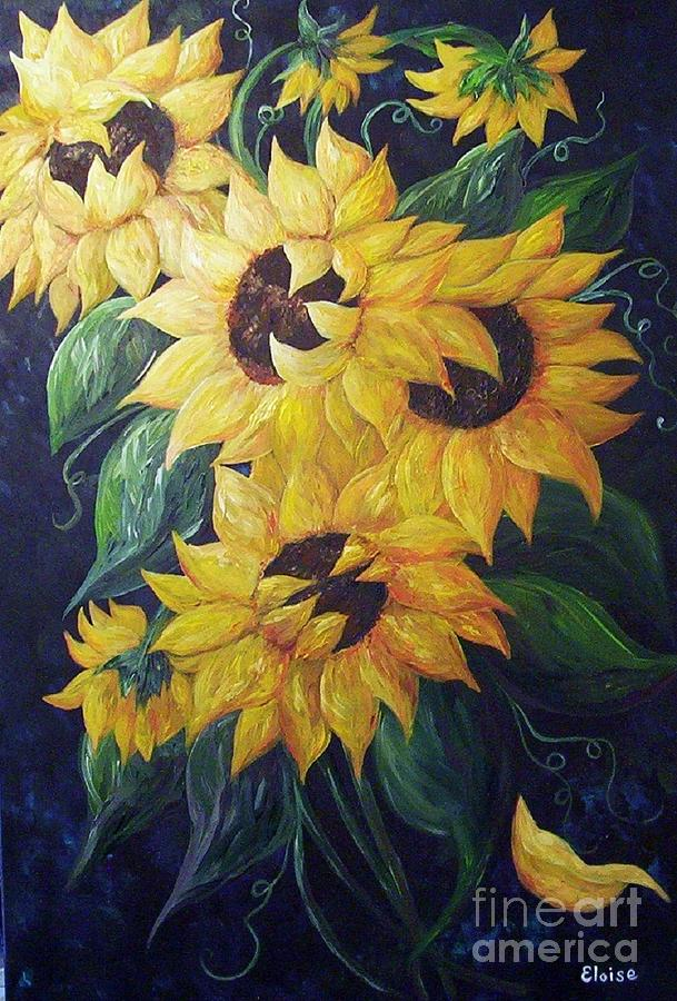 Sunflower Painting - Dancing Sunflowers  by Eloise Schneider