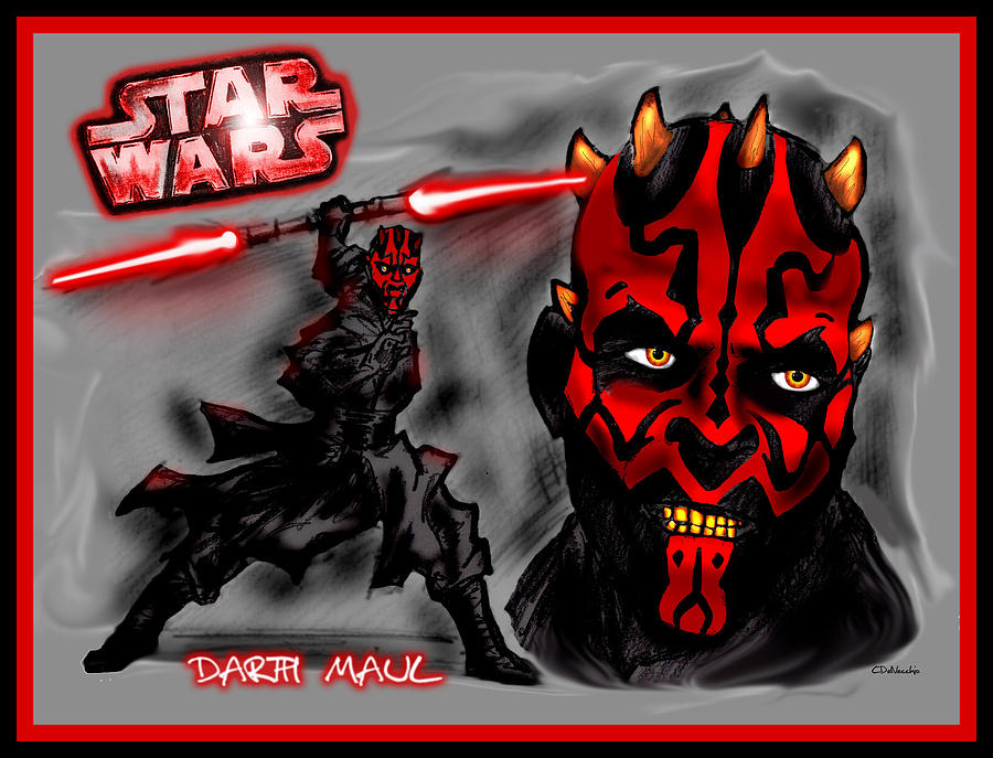 Star Wars Drawing - Darth Maul - Sith Lord by Chris  DelVecchio