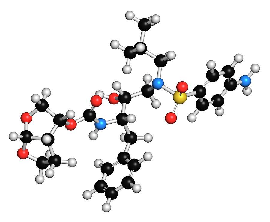 Inhibitor Photograph - Darunavir Hiv Drug Molecule by Molekuul