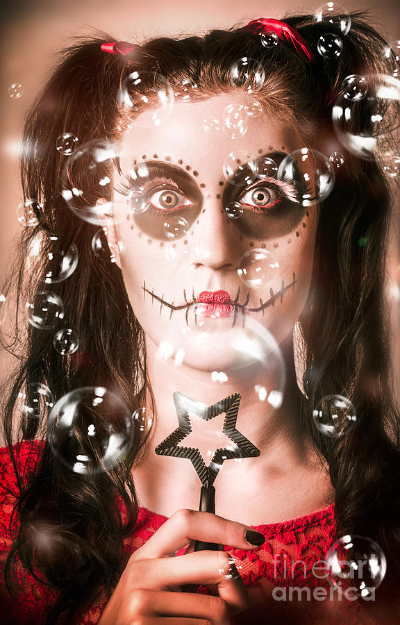 Skull Photograph - Day Of The Dead Girl Blowing Party Bubbles by Jorgo Photography - Wall Art Gallery