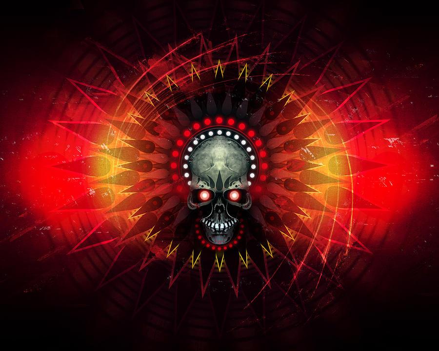 Skull Digital Art - Deadstep - Hellfire Remix by George Smith