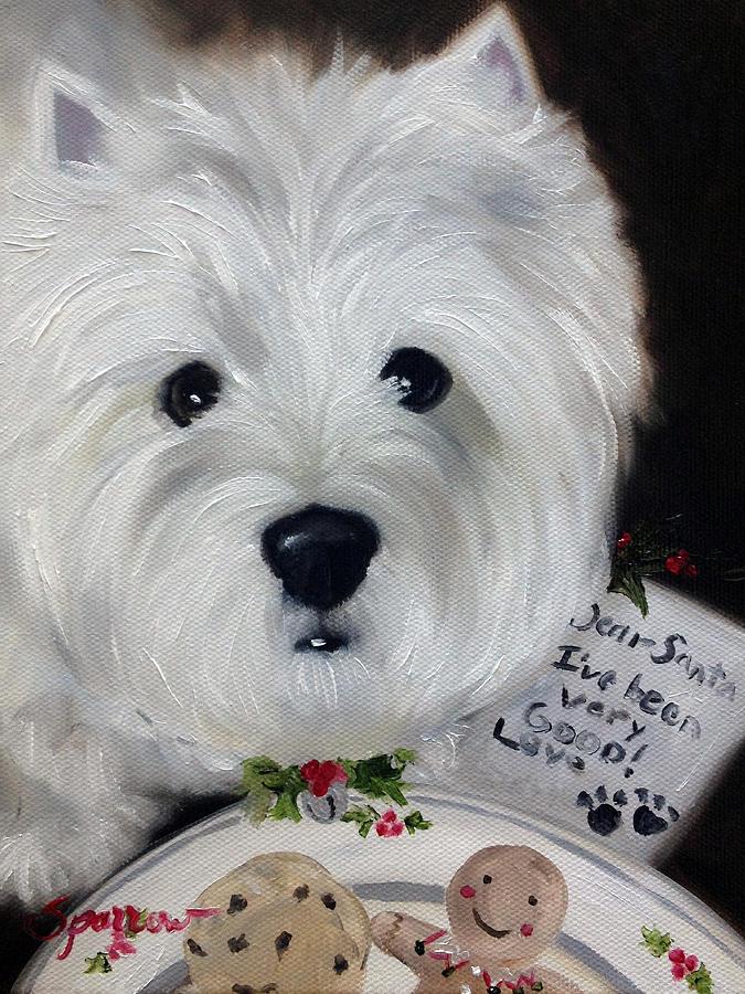 Westie Painting - Dear Santa by Mary Sparrow