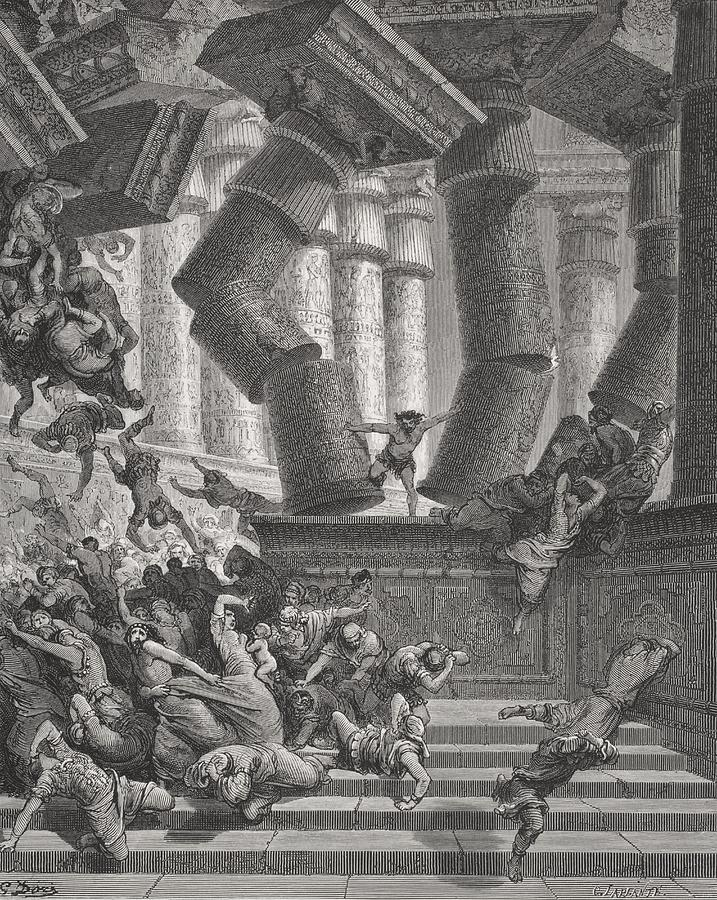 Pushing Painting - Death Of Samson by Gustave Dore