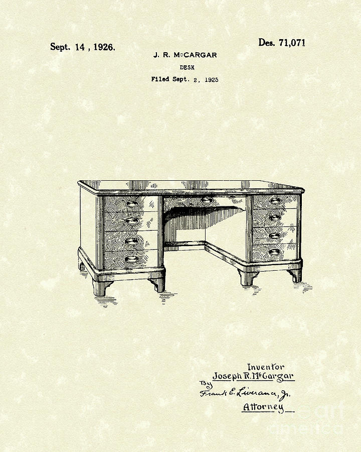 1926 Drawing - Desk 1926 Patent Art by Prior Art Design