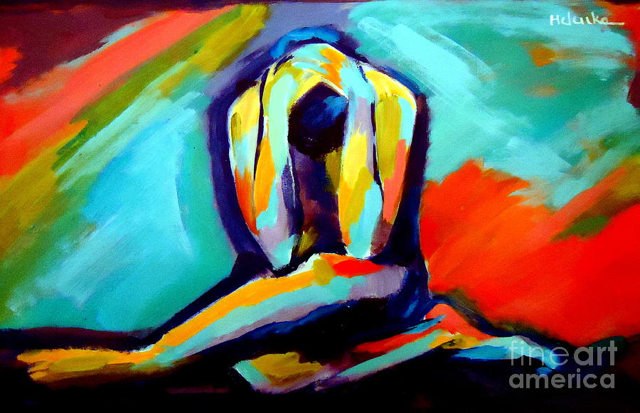 Abstract Nudes Painting - Despair by Helena Wierzbicki