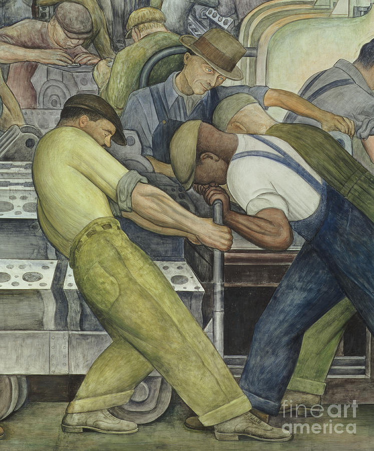 Fresco Painting - Detroit Industry  north wall by Diego Rivera