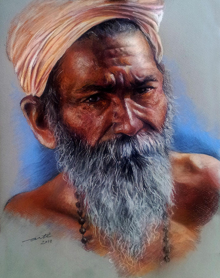Portrait Painting - Devotee by Arti Chauhan