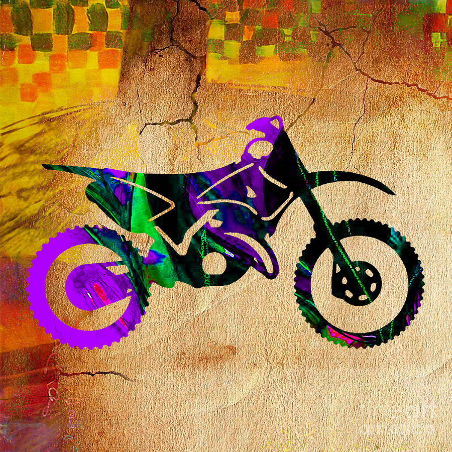 Dirt Bike Painting Mixed Media by Marvin Blaine