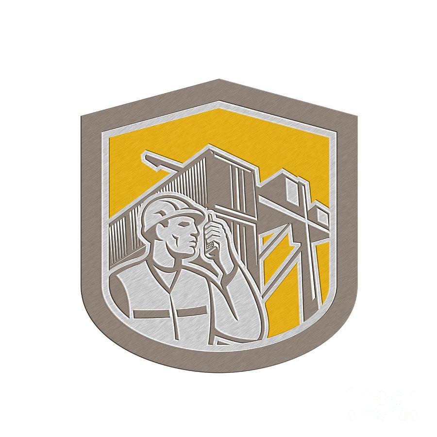 Metallic Digital Art - Dock Worker On Phone Container Yard Shield by Aloysius Patrimonio