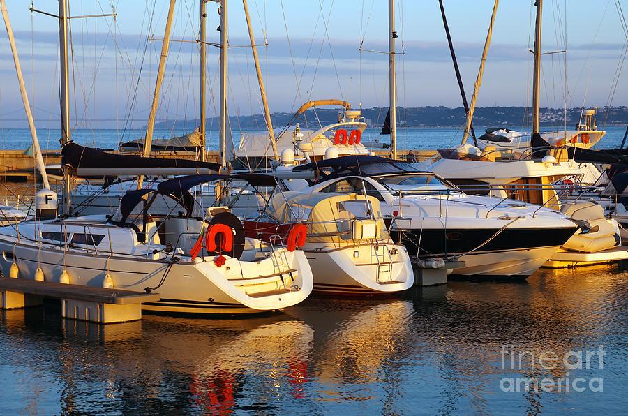 Anchor Photograph - Docked Yachts by Carlos Caetano
